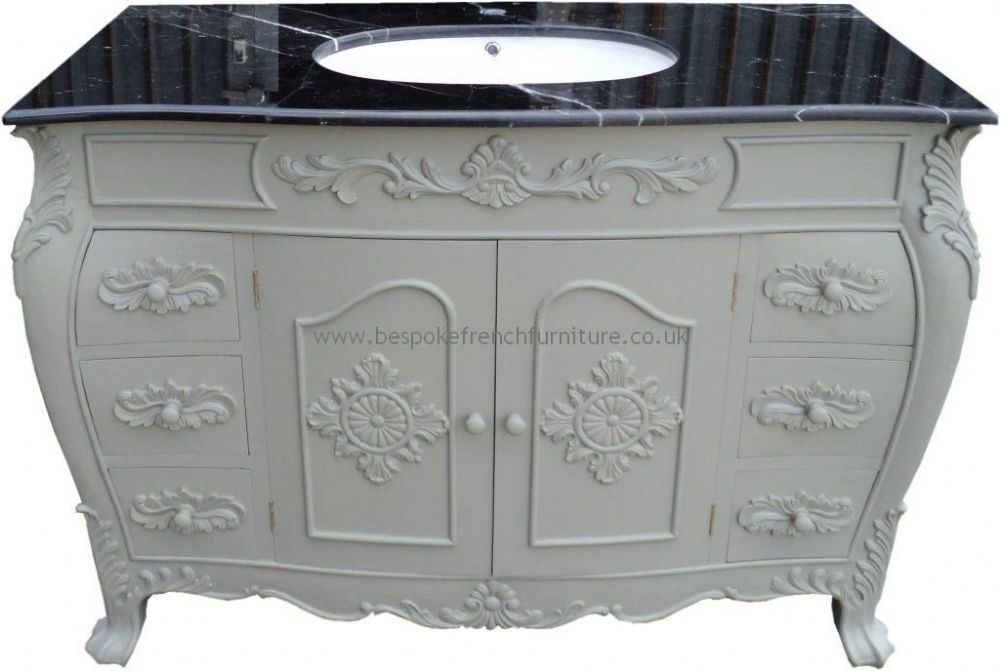Bespoke double size sink vanity unit with solid marble top - Marble vanity units ...