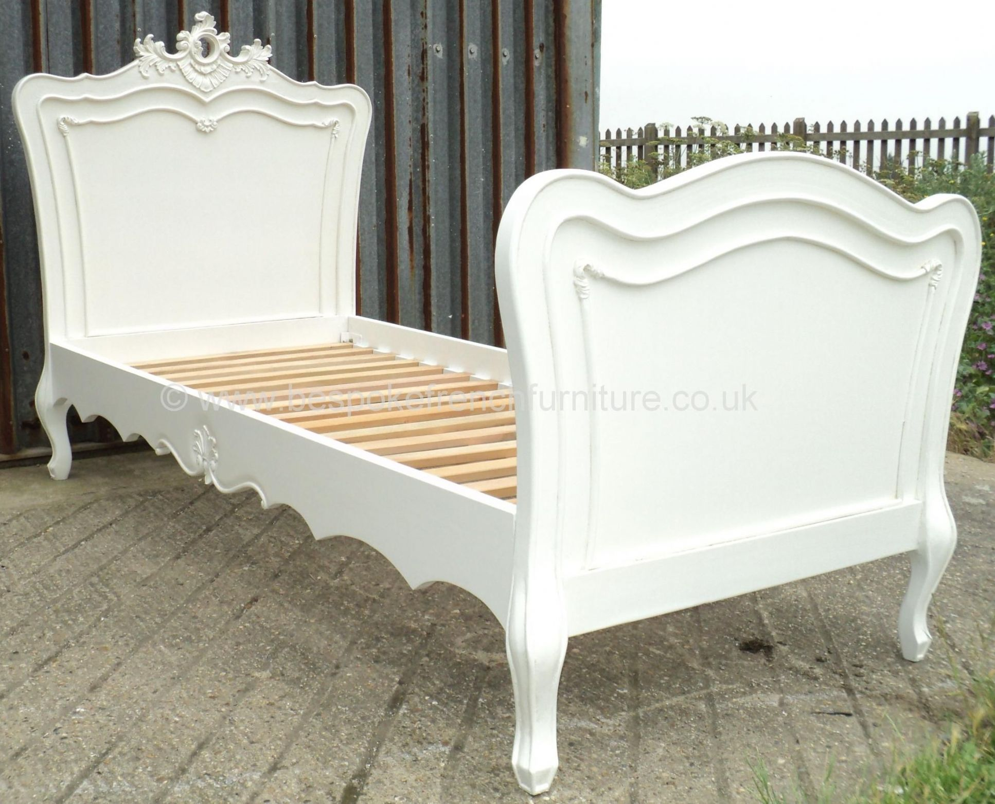 Sandrine French Bed with Rococo Crest in your choice of colour